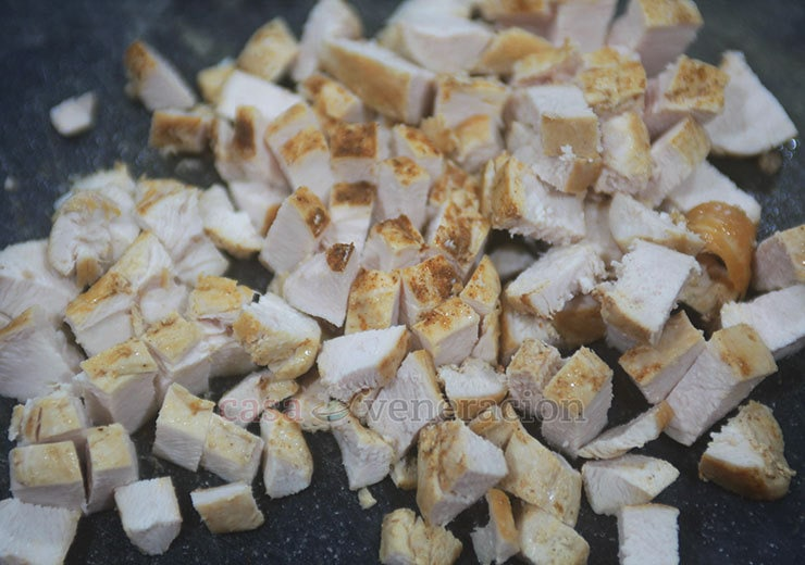 To make chicken a la king, I pan grilled chicken fillets then cut them into cubes.