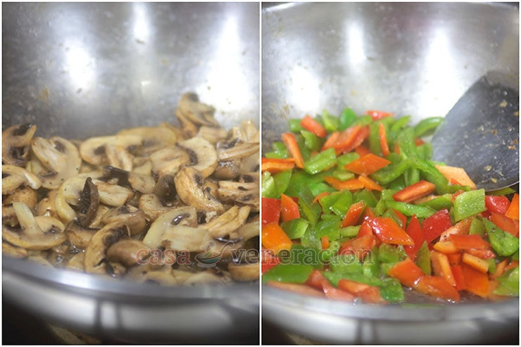 Chicken a la King Recipe, step 1: Saute the sliced mushrooms and bell peppers in butter