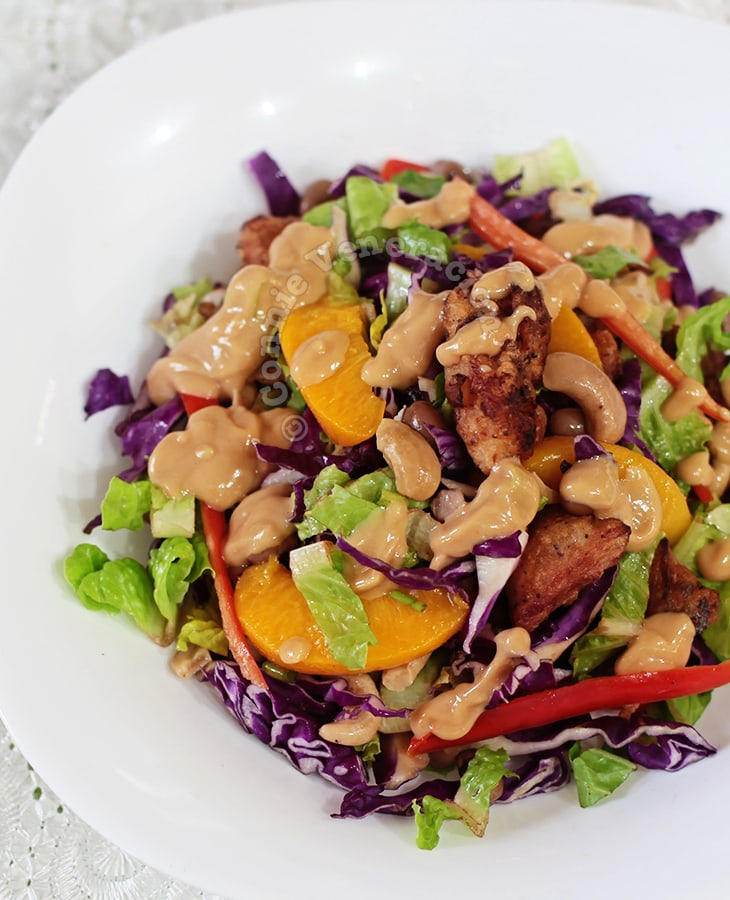 Chicken Cabbage Salad With Peanut Dressing