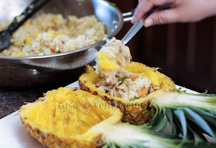 Thai Pineapple Chicken Fried Rice Recipe, step 6: Fill the pineapple shells with fried rice