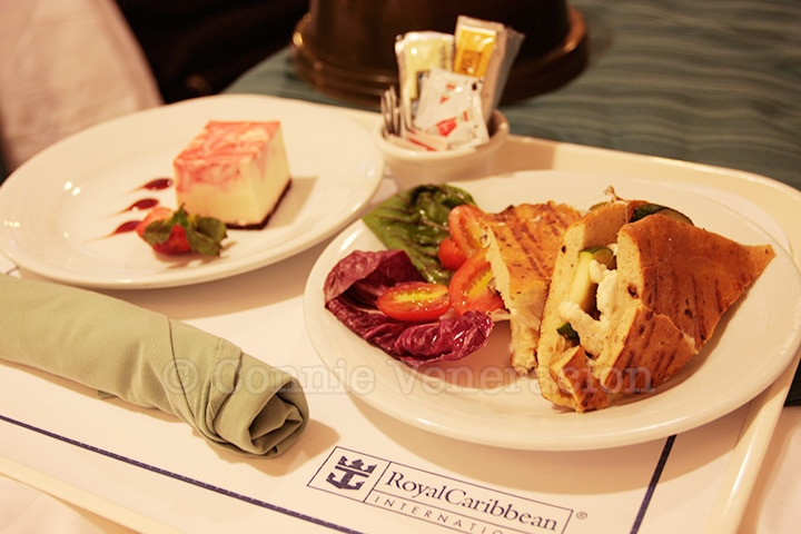 Panini and cheesecake | Room Service, Legend of the Seas