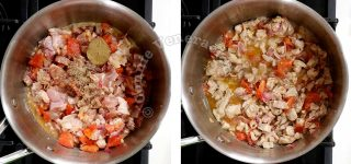 Adding minced chicken to sauteen vegetables in pot