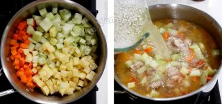 Adding vegetables to chicken in pot, then pouring in broth