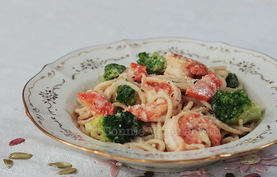 Shrimp Broccoli Pasta With Lemon Garlic Sauce
