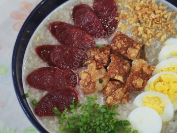 Slow Cooker Congee With Roast Pork Belly