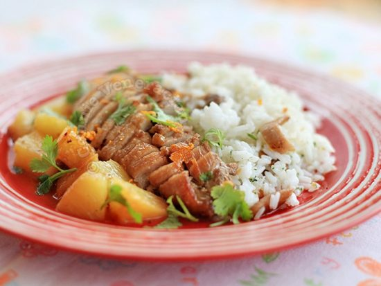 Braised Duck With Pineapple, Orange and Ginger Sauce