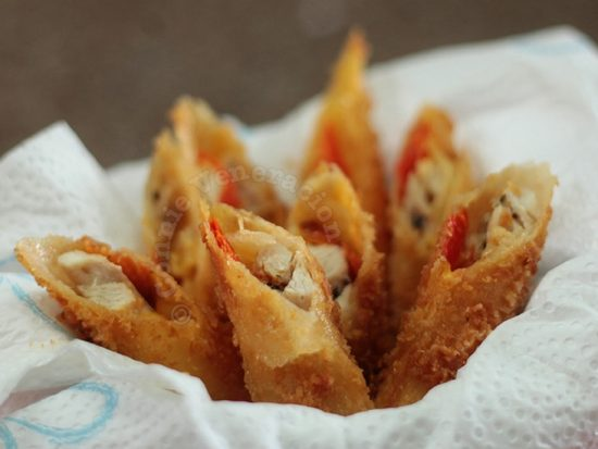 Chicken, Cheese and Roasted Pepper Sticks