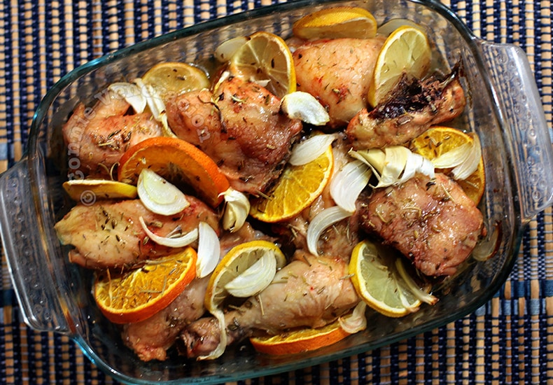 Baked Herbed Two-Citrus Chicken | casaveneracion.com