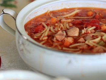 Chicken, Bacon and Tomato Noodle Soup
