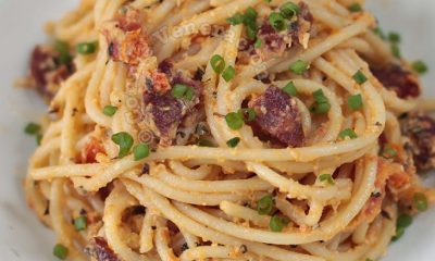 Salted Duck Egg and Chorizo Spaghetti