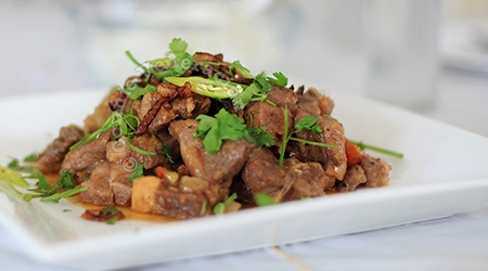 Braised lamb with chilies, crushed pineapple, lemongrass and ginger
