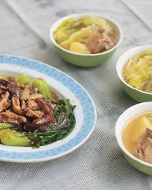 Chinese-style Bok Choy and Mushrooms in Oyster Sauce