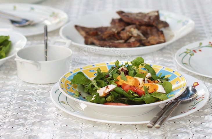 Arugula and Salted Duck Egg Salad With Ginger Vinaigrette | casaveneracion.com