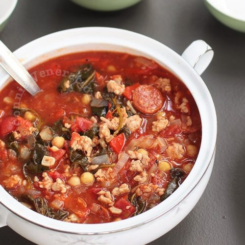 Spanish Sausage, Garbanzos and Spinach Soup