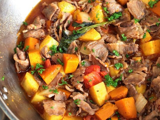 Quick and Easy Beef, Sweet Potato and Squash Stew