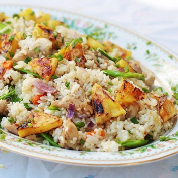 Chili Chicken Fried Rice With Grilled Pineapple