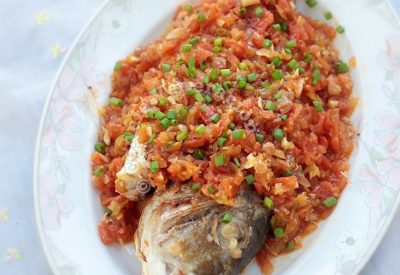 Greek-style Grilled Sea Bream With Onions and Tomatoes