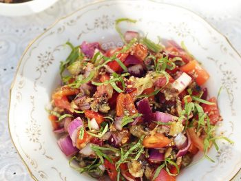Grilled Eggplant and Bell Pepper Salad With Sesame-soy Dressing