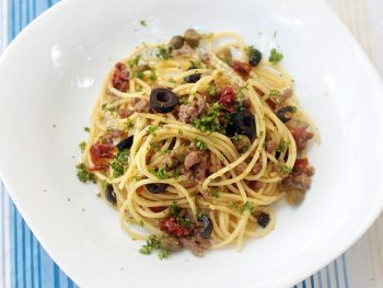 Ground Lamb and Sun-dried Tomato Spaghetti With Lemon-Garlic Sauce