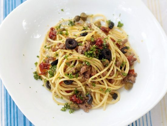 Ground Lamb and Sun-dried Tomato Spaghetti With Lemon Garlic Sauce