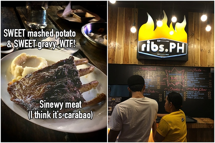 Foodtrip Marikina: The worst of the lot was the sinewy ribs served with SWEET mashed potatoes and SWEET gravy. Bleh.