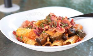 Ratatouille Pasta With Bacon and Parmesan