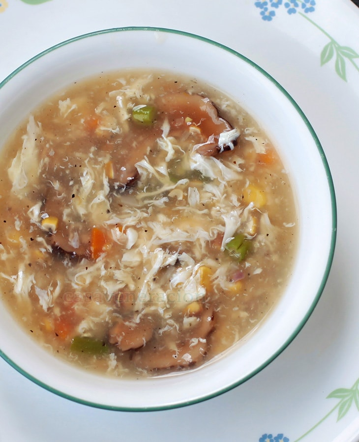 Corn and Mushroom Egg Drop Soup | casaveneracion.com