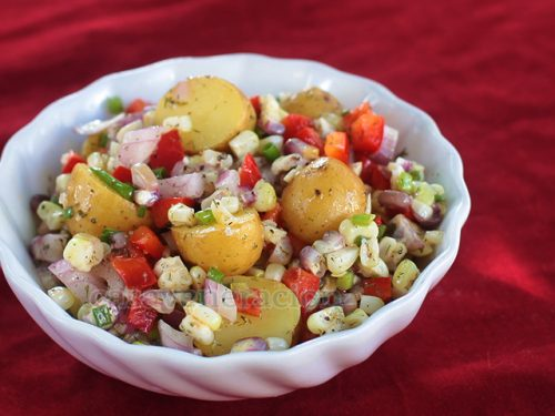 Potato Corn Salad With Lemon Butter Garlic Dressing