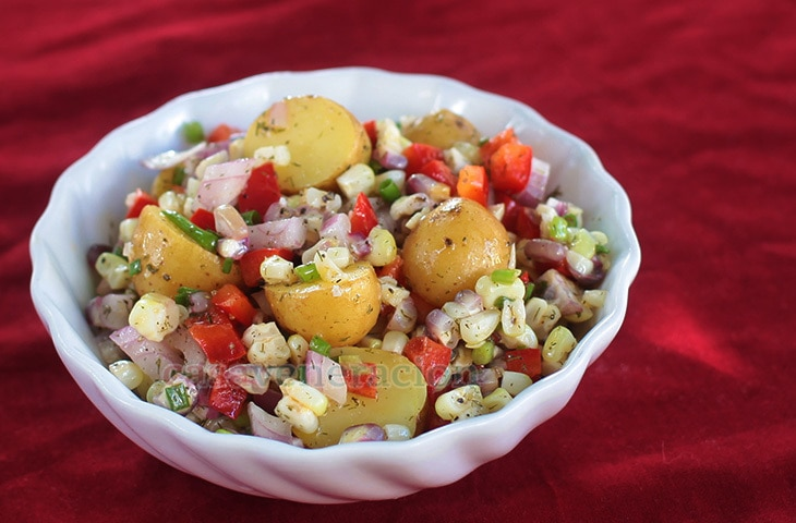 Potato Corn Salad With Lemon Butter Garlic Dressing | casaveneracion.com