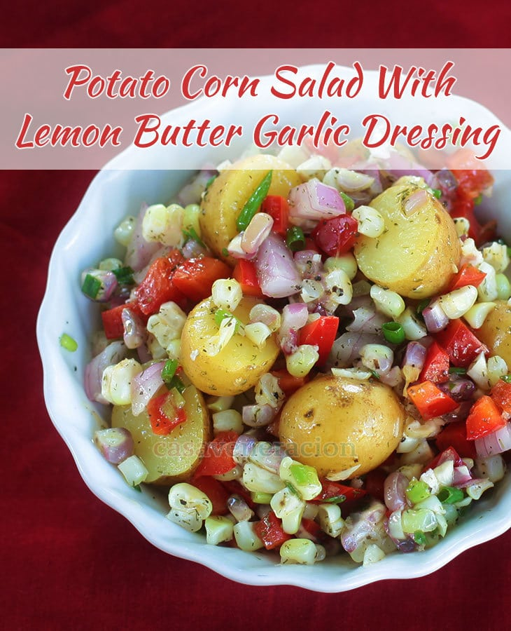 Lightly crisp but still creamy potatoes, crisp bell peppers, crunchy-creamy corn, bold onion flavor and, oh, the delightful dressing! A full vegetarian meal.