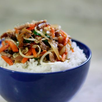 Chukadon: Stir Fried Vegetables and Meat Rice Bowl