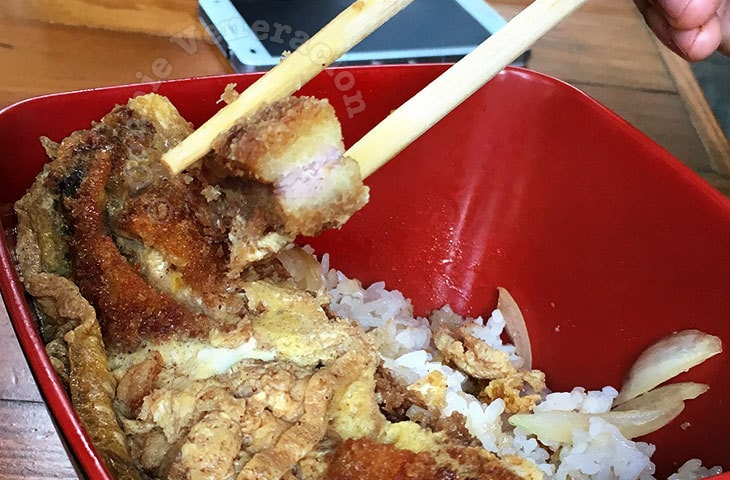 Paper-thin pork cutlet in the katsudon at Yasuo (at Kayle 1 Abad Santos Food Park)