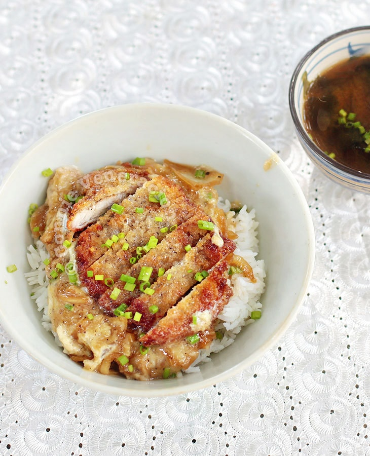 Katsudon (Japanese Fried Pork Cutlet and Eggs Rice Bowl)