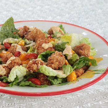 Popcorn Chicken Salad With Spicy Ranch Dressing