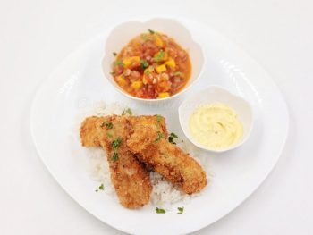 Fish Fingers with Kaffir Lime, Onion, Tomato and Mango Salsa and Whipped Butter Sauce