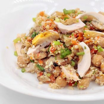 "Mushrooms and Salted Egg Cauliflower ""Fried Rice"""