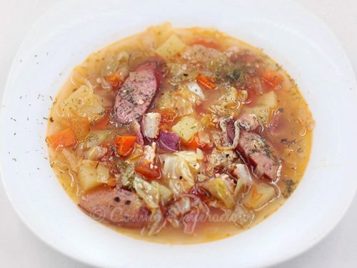 Polish-style Cabbage, Potato and Sausage Soup (Kapusniak)