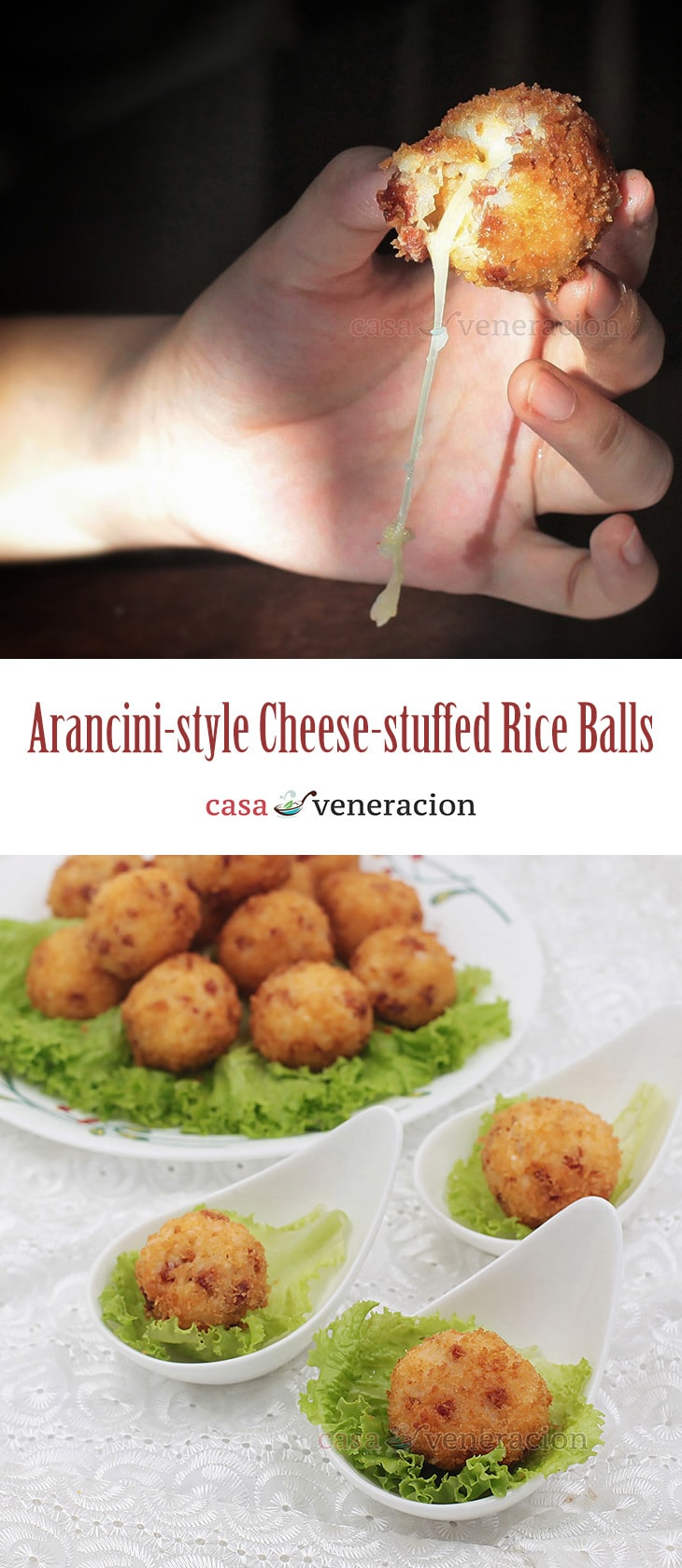 My arancini recipe: day-old rice is mixed with chopped chorizo, egg and Parmesan, rolled and stuffed with cheese, dredged in bread crumbs and fried.