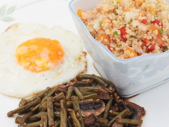 Cooked Filipino adobo style, I served the string beans and mushrooms adobo with a simple quinoa salad. A meatless meal for my daughter, Sam.