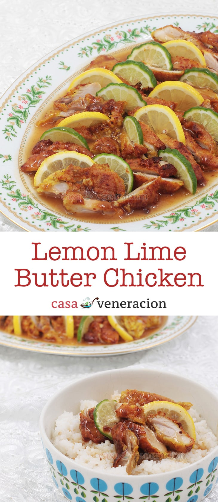 To cook lemon lime butter chicken, lightly floured chicken fillets were fried and smothered with sweetened lemon-lime sauce enriched with dollops of butter.
