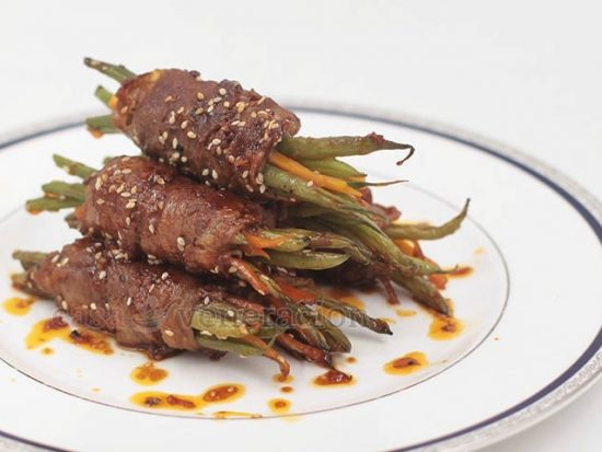 Beef-wrapped Green Beans With Soy Ginger Sauce
