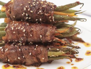 Use sukiyaki-cut beef to make this delicious beef-wrapped green beans with soy ginger sauce. Prep time: 10 minutes. Cook time: 12 minutes.