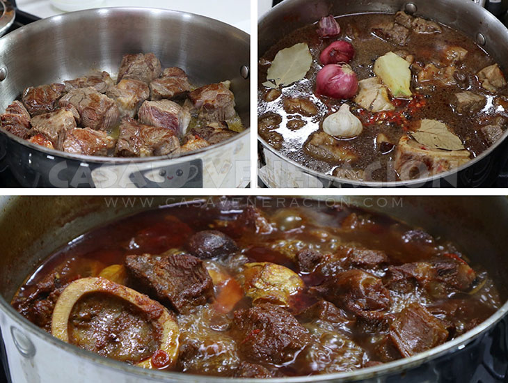 Browning beef in hot oil to cook beef stew a la House of Kimchi
