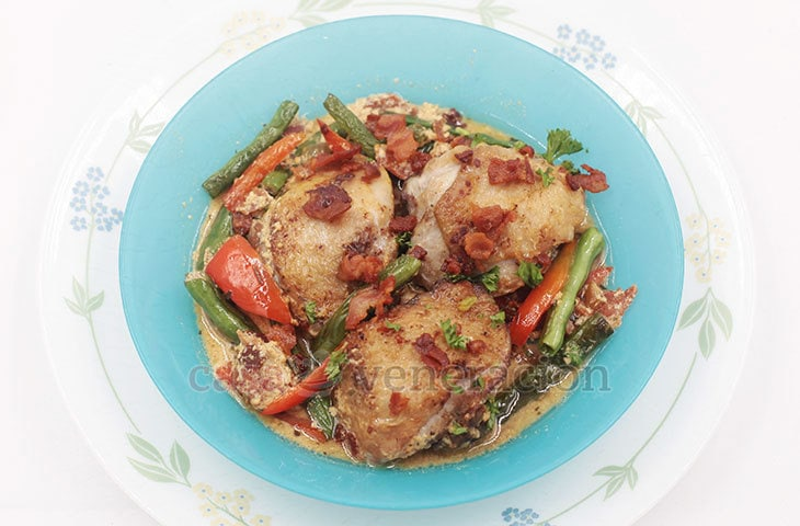 Unbelievably rich and tasty! Imagine the chicken cooking in pure full fat milk and absorbing all its flavor. Chicken stewed in milk is a must try!