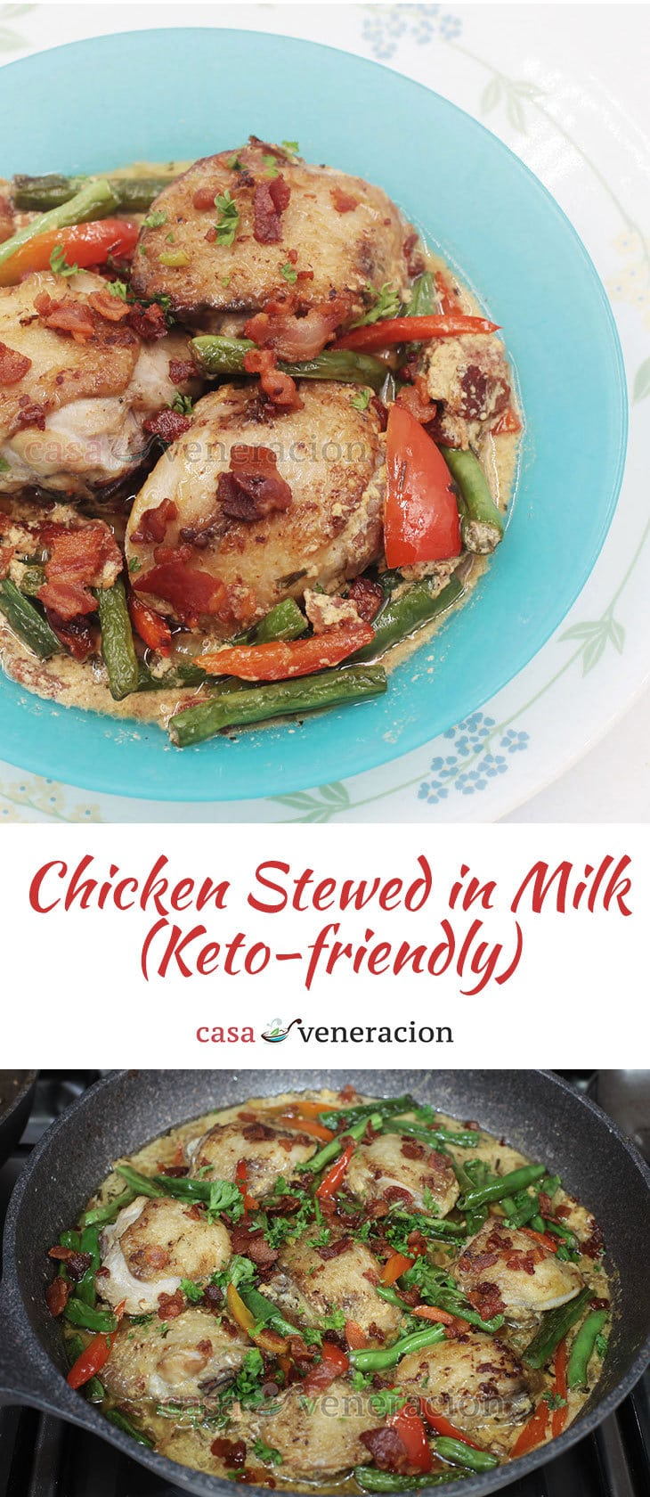 Unbelievably rich and tasty! Imagine the chicken cooking in pure full fat milk and absorbing all its flavor. Keto-friendly chicken stewed in milk is a must try!