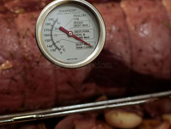 A meat thermometer measures the internal heat of meat such as roasts or whole turkeys or chicken.