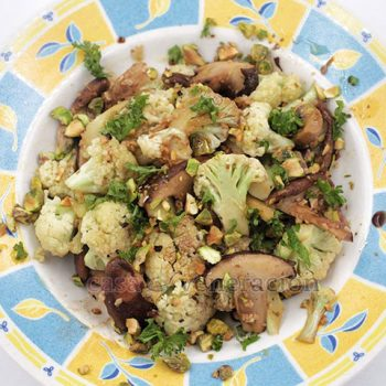 Garlicky Mushrooms and Cauliflower With Balsamic Vinaigrette