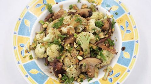 Garlicky Mushrooms & Cauliflower With Balsamic Vinaigrette