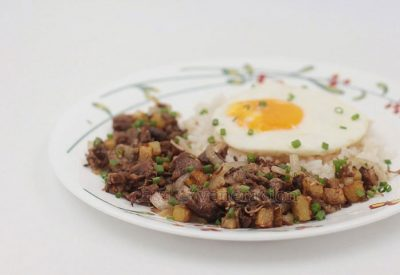 Transform scrap meat from soup bones by cooking it into delicious Filipino pork adobo hash. Prep and cook time is less than 30 minutes. Delicious breakfast!