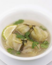 Thai-style pork and shrimp stuffed cabbage rolls simmered in bone broth flavored with lemongrass, garlic, ginger, chilies and freshly squeezed lime juice.